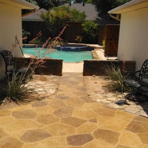 back patio with stamped overlay