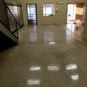 polished concrete floors in industrial warehouse
