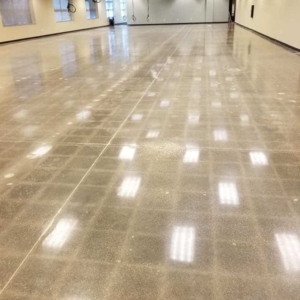 polished concrete in entryway adds beauty style