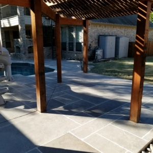 residential patio with limestone overlay
