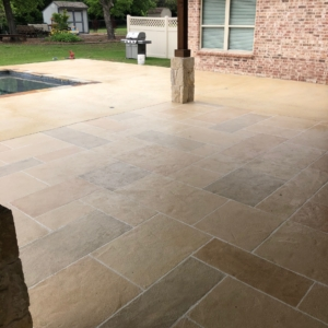 residential patio with limestone overlays