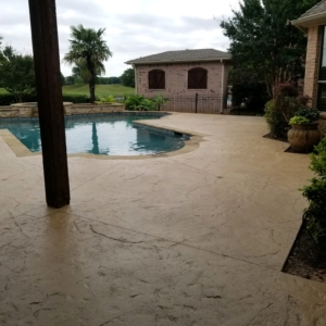 residential pool deck after stain rehab