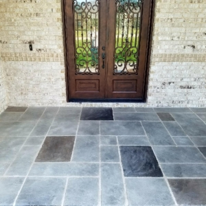 residential porch with limestone overlay