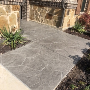 stamped overlay on residential walkway