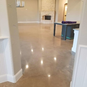 stunning entryway thanks to polished concrete system